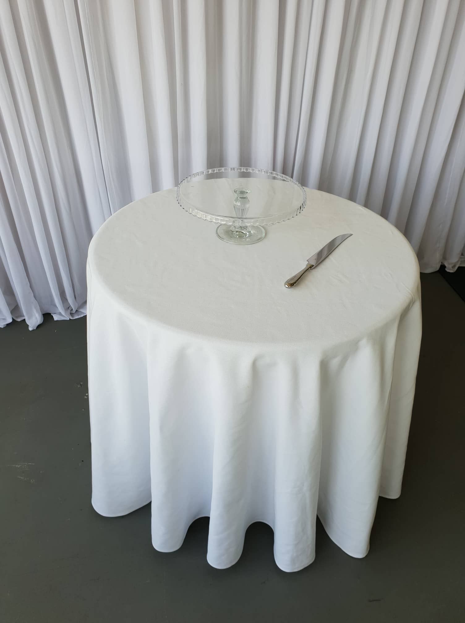 3 foot round table dressed as cake table